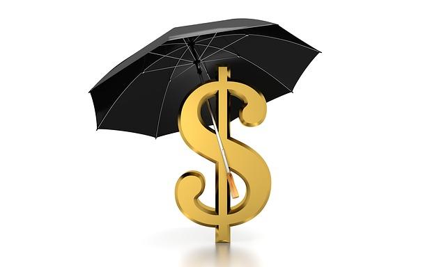 znak dolaru pod černým deštníkem