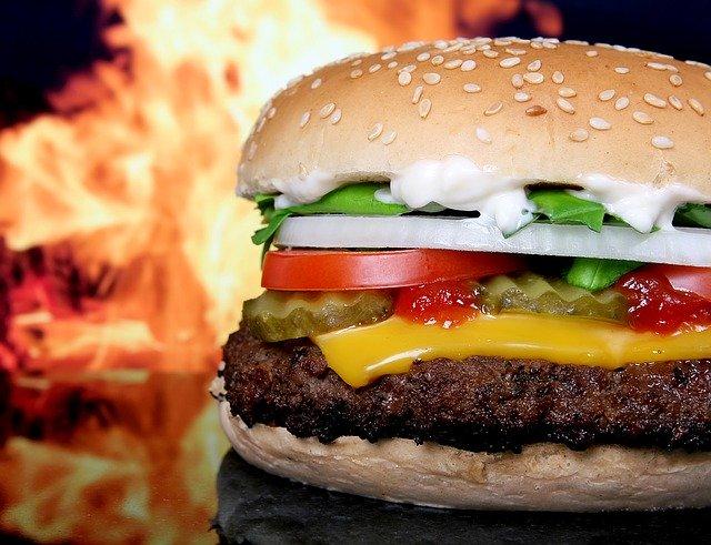 nezdravé jídlo, hamburger